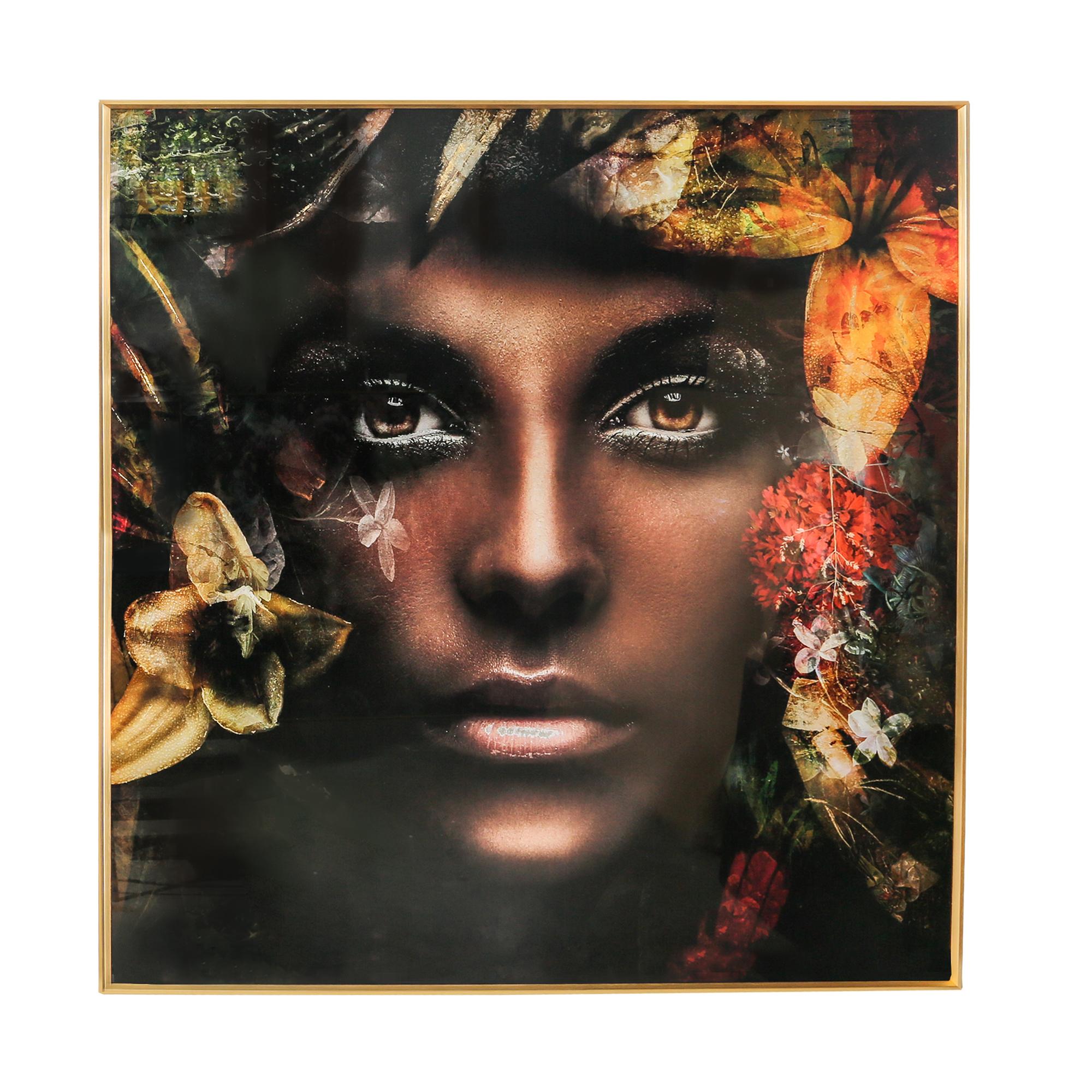 Wandbild Glass Frau nature