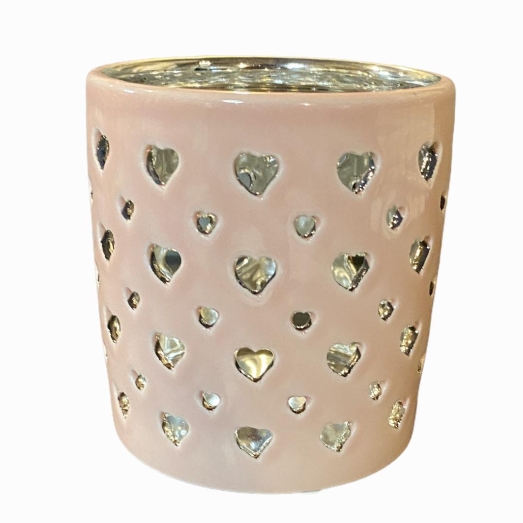 Tischlicht Amba Herzen rosa / silber
