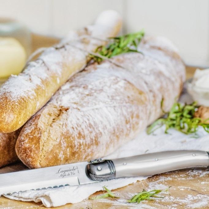 Perlmutt Brotmesser mit Baguetteschneidebrett